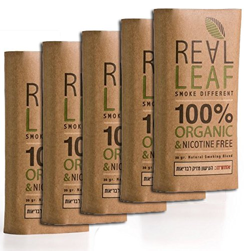 (5 X Organic Herbal Natural Smoking Mixture, 100% Nicotine & Tobacco Free, Rich, Aromatic, Delicate Aroma and Smooth natural taste 3 PACKS Real Leaf Substitute, 150g Total)