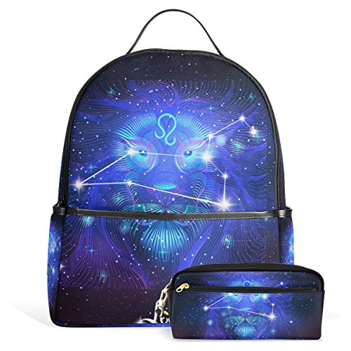 Constellation Zodiac Sign Leo Unisex Rucksack Canvas Satchel Casual Daypack,School College Student Backpack with Pencil Case