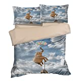 Abstract Blue Sky Flying Stone Balloon Elephant Cotton Microfiber 3pc 90''x90'' Bedding Quilt Duvet Cover Sets 2 Pillow Cases Queen Size