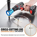 Dicfeos Double Head Metal Sheet Nibbler Cutter with Circle Cutting Accessories, Drill Attachment with Wrench & Parts, Maximum 14 Gauge Steel