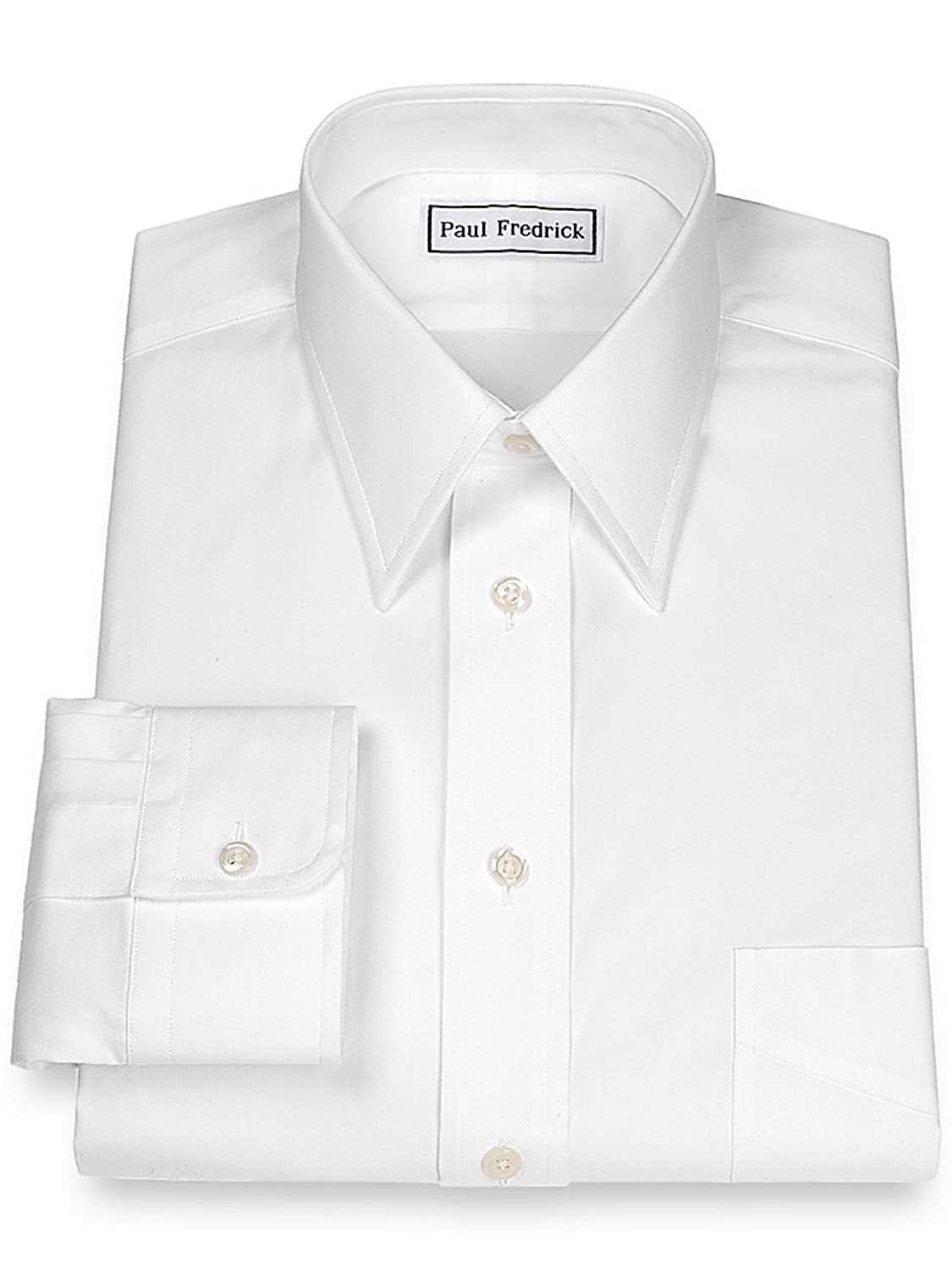 Paul Fredrick Men's Slim Fit Pinpoint Straight Collar Dress Shirt