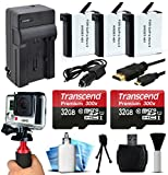64GB MicroSD Memory + (3 Pack) Battery + Travel Charger + HDMI + HG-1 Stabilization Handgrip + SD Card Reader + Dust Cleaning and Removal Kit for GoPro HERO4 Hero 4 Black Silver Camera Camcorder