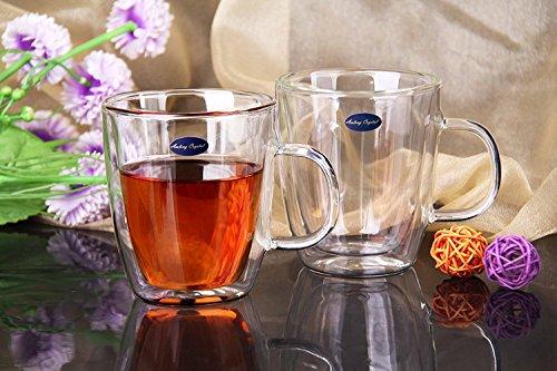 Amlong Crystal Lead Free Double Wall Glass Coffee Mug or Tea Mug 12 oz, Set of (Crystal Glass Mug)