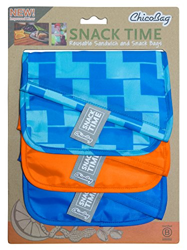 ChicoBag Snack Time Reusable Snack and Sandwich Bags, Eco Friendly, Water and Stain Resistant Liner, 3 Color Set, Blue Ladder