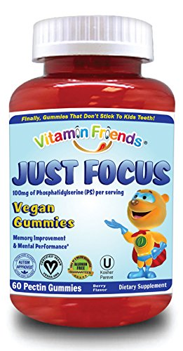 Vitamin Friends Just Focus PS Kids Vegan Gummies Supplements, Berry, 60 - Gummy 60 Count