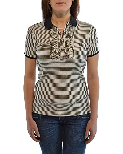 FRED PERRY polo donna a righe con ruches