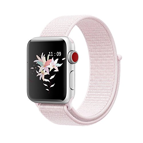 - For Apple Watch Sport Loop 42mm, Woven Nylon Band Hook and Loop Fastener Adjustable Closure Wrist Strap for 42mm Apple Watch Series 3/2/1 - Pearl Pink