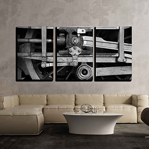 "wall26 - 3 Piece Canvas Wall Art - Steam Train Wheel Drive - Modern Home Decor Stretched and Framed Ready to Hang - 24""x36""x3 Panels"