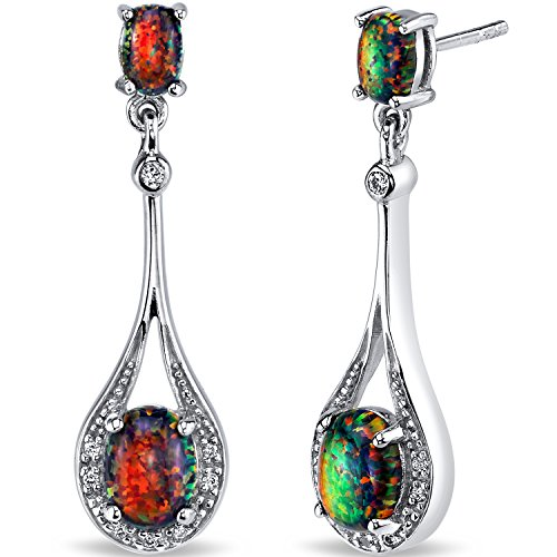 Created Black Opal Paddle Drop Earrings Sterling Silver 3.75 Carats