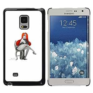 Planetar® ( Glamorous Sexy Woman Red Hair Drawing Art ) Samsung Galaxy Mega 5.8 Fundas Cover Cubre Hard Case Cover