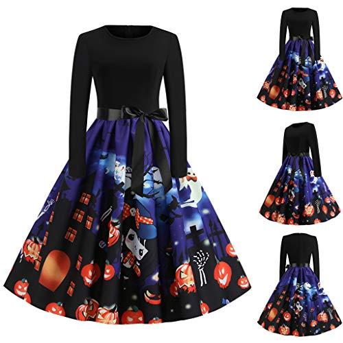Jessie Women Halloween Night Ghost Print Dress Ladies O-Neck Long Sleeve Audrey Hepburn Skirt Party Swing ()