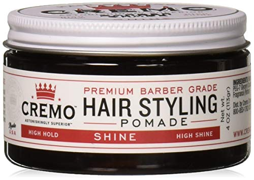 Cremo Barber Grade Hair Styling Shine Pomade, High Hold, High Shine, 4 Ounce