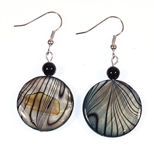 (ARThouse Dark Moon Shimmering Gray and Black Mother of Pearl Earrings; Dangle 1.5 Inches)
