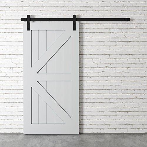 "Farmhouse Woodcraft 83"" Gray Sliding Wood Panels Builder's Barn Door"