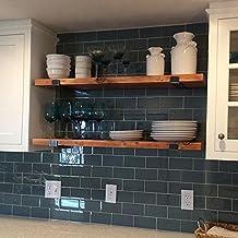 Vintage solid wood wall shelf wall mount wrought iron shelf bracket kitchen storage rack shelf,80*20*3 cm
