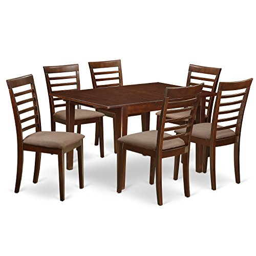 East West Furniture MILA7-MAH-C 7 Piece Breakfast Nook and 6 Dining Chairs In Mahogany Kitchen Set (Cheap Breakfast Nook Set)