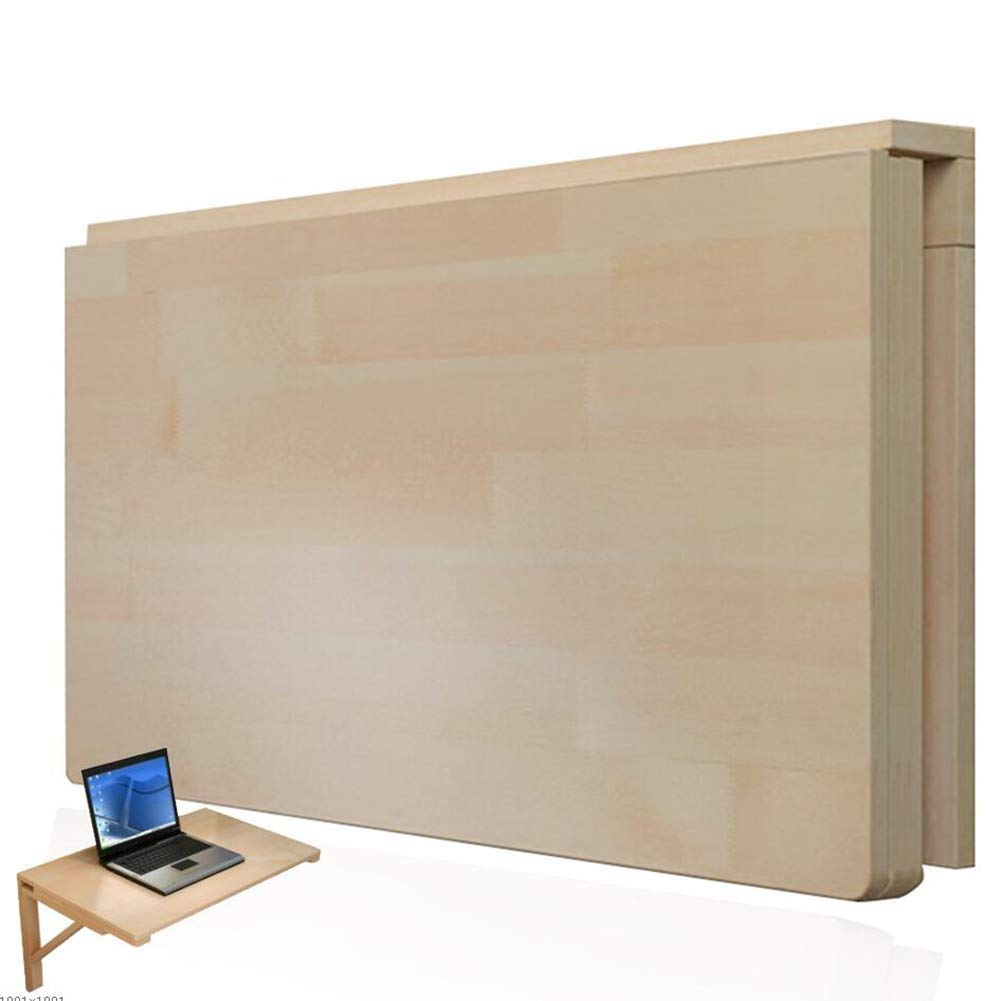 Wood color 120x40cm PENGFEI Wall-Mounted Table Laptop Stand Foldable Learning Desk Coffee Table, Small Space, 14 Sizes (color   Wood color, Size   120x40cm)