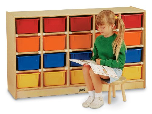 20 Tray Mobile Cubbie with Colored Trays - School & Play Furniture