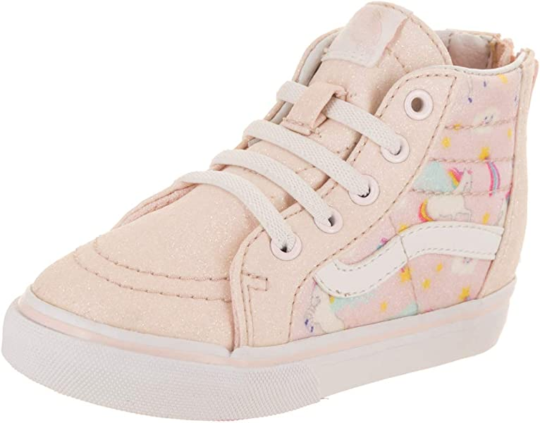 bcca8bc373 Vans Toddler SK8-Hi Zip (Glitter Pegasus) Heavenly Pink True White  VN0A32R3U07