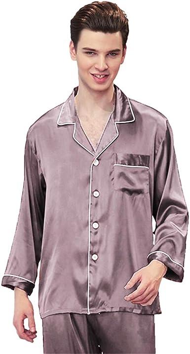 WanYangg Pijamas para Hombre Satén Largo Clasico Conjunto De Pijamas Dos Piezas Primavera Y Verano Ropa De Dormir con Bolsillo con Botones Color ...
