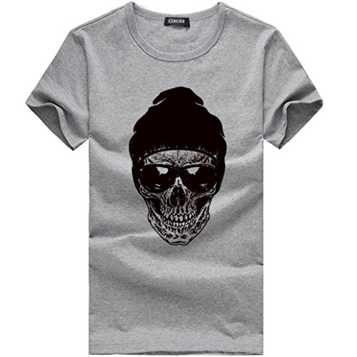 Bokeley Men's Crew Neck T Shirt Skull Wearing Sunglasses Print Short Sleeve Tees Graphic Tops (Gray, ()