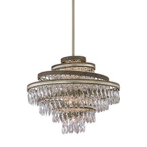 Transitional Corbett Lighting - Corbett 28573960 Corbett Four Light Silver Leaf W/Gold Leaf Accents Down Chandelier - 782042759138