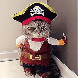 Zehui Pet Clothes Caribbean Pirate Dog Cat Costume Suit Party Apparel Clothing Plus Hat M