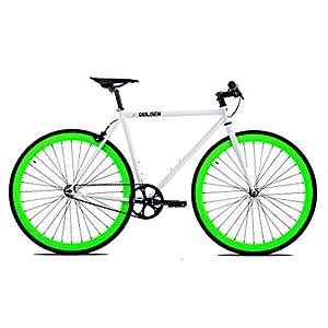 Golden Cycles Single Speed Fixed Gear Bike Front & Rear Brakes (Shamrock 48), White/Neon Green