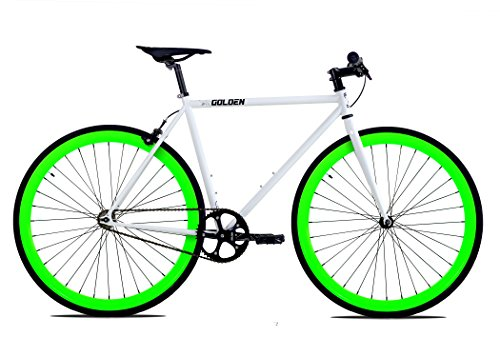 Golden Cycles Single Speed Fixed Gear Bike with Front & Rear Brakes (Shamrock 52), White/Neon Green