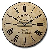 Cooking is Love Wall Clock, Available in 8 sizes, Most Sizes Ship 2 - 3 days, Whisper Quiet.