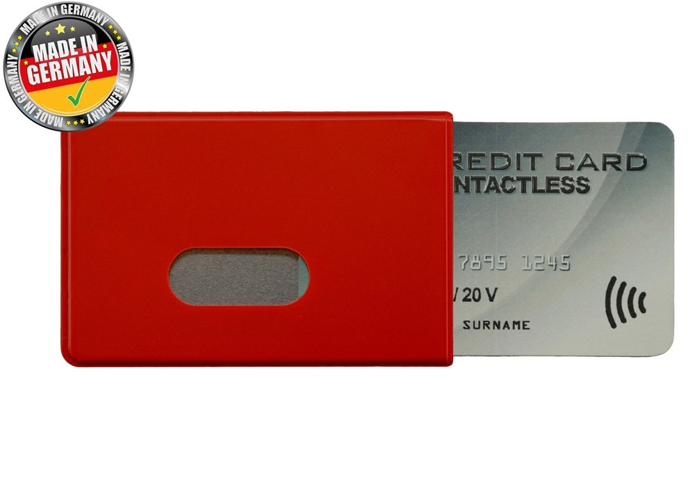 OPTEXX® 1x RFID/NFC Blocking Sleeve Fred Red TÜV tested and certified Credit- / Debit Card Protector Id Theft Protection Case W4892015USPAC