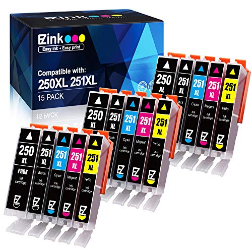 EZ Ink TM Compatible Ink Cartridge Replacement for Canon PGI250XL PGI 250 XL CLI251XL CLI 251 XL to use with PIXMA MX922 MG5520 3 Large Black 3 Cyan 3 Magenta 3 Yellow 3 Small Black 15 pack