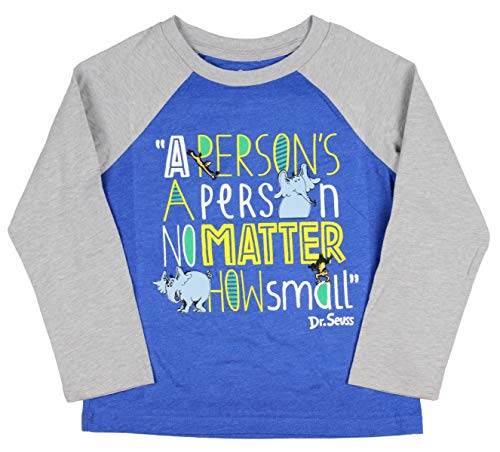 (Dr. Seuss Horton Hears A Who Shirt Book Licensed Character Raglan T-Shirt (2T) Royal)