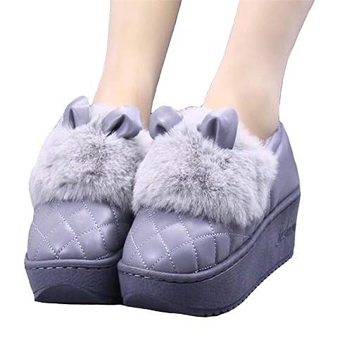 Plataforma Impermeable para Mujer Zapatos De Invierno Conejo Lindo Orejas De Casa ResbalóN En Las Mujeres CuñAs Mocasines Al Aire Libre: Amazon.es: Zapatos ...