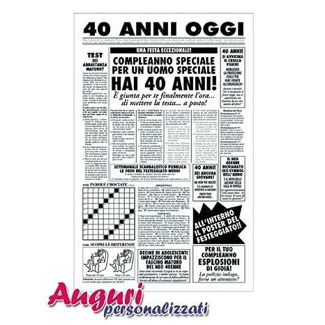 Biglietto Auguri Giornale Compleanno 40 Anni Amico Amazon It