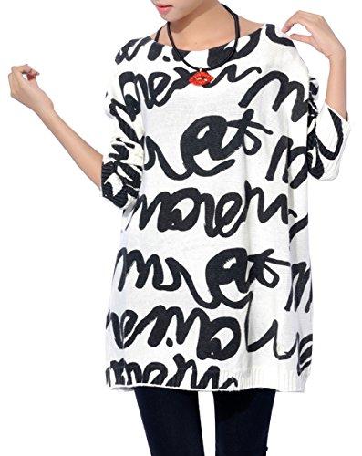 ELLAZHU Women Baggy Doodles Letter Knit Pullover Dress Onesize SZ61