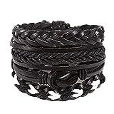 Women Retro Cross Weaving Lace-up Wooden Wristband Bangle Bracelets Gift for Girls Mens Teens Student Best Friend Forever(BK)