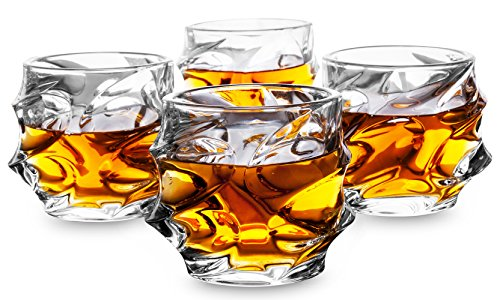 KANARS Everest Whiskey Glasses set of 4, Premium Classy Lead Free Cut Crystal Old Fashioned Cool Rocks Scotch Glass Short Tumbler for Bourbon Tasting, Irish Whisky, Brandy