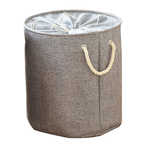 Kernorv 100% Natural Cotton Laundry Basket rope basket Collapsible Dirty Clothes Hamper Container, bathroom Storage Bins for Kids Bedroom, Nursery, Dorm, or Closet (Gray)