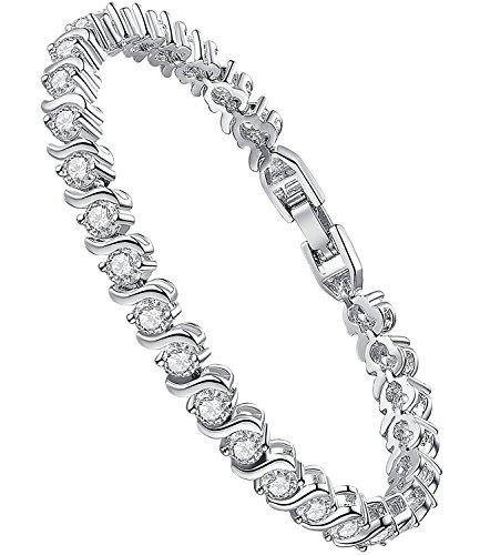 Sparkling Rhinestone Bracelet (Sparkling Clear Rhinestone Crystal Bracelet,18K Gold Plated Bracelet,Wedding Bridal Bracelet Crystal Bracelet - Christmas Gifts (Crescent - 7.4 Inch))