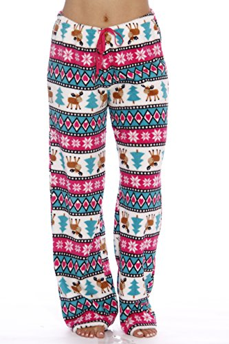- 6339-10186-L Just Love Women's Plush Pajama Pants - Petite to Plus Size Pajamas,White - Moose Love,Large
