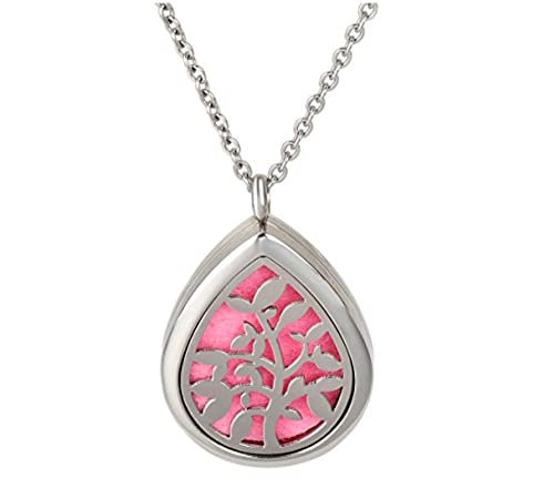 Amazon essential oil diffuser necklace aromatherapy pendant essential oil diffuser necklace aromatherapy pendant raindrop olive tree jewelry bag and extra pads aloadofball Image collections