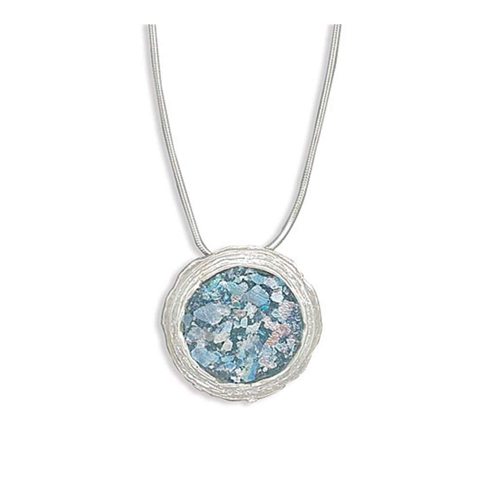 925 Sterling Silver 16 Inch Necklace with Ancient Roman Glass and Textured Edge