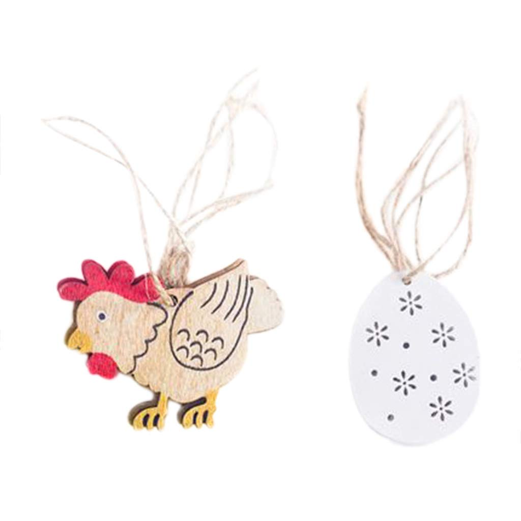 Efaster 8Pcs Easter Bunny Decorations 100% Handmade Wooden Handicrafts Rabbit Chicken Floral Shapes Ornaments Craft Gifts (C)