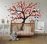 LUCKKYY Three Playful Pandas Bear on Cherry Blossom Tree Wall Decal Tree Wall Sticker Nursery and Children's Room