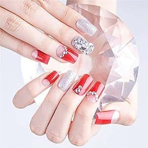 MENILITHS 24 Unidades de uñas postizas de Diamante Rojo ...