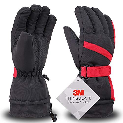 Simplicity Ski Gloves - Waterproof Snowboard Snow Warm Winter Men Gloves, Black Red, L