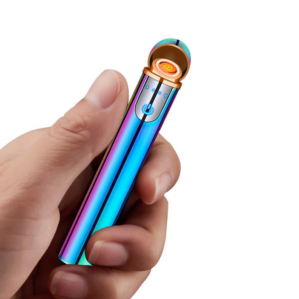 sin Llama Encendedor electr/ónico ARCLAND Encendedor el/éctrico con Sensor de Huella Dactilar Pantalla t/áctil Recargable con Caja de Regalo