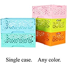 Foldable Storage Organizer Box Tier Stackable Carved Hollow Desk Tray Storage box for Space display, Wardrobe collection 1 PCS ( Mint color)