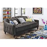 9 by Novogratz Vintage Tufted Sofa Sleeper II (Grey Velour)